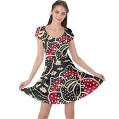 Art Batik Pattern Cap Sleeve Dresses