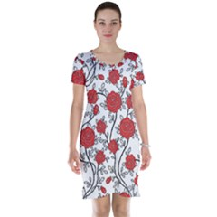 Texture Roses Flowers Short Sleeve Nightdress