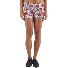 Texture Roses Flowers Yoga Shorts