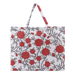 Texture Roses Flowers Zipper Large Tote Bag