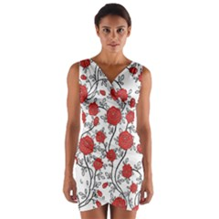 Texture Roses Flowers Wrap Front Bodycon Dress