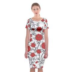 Texture Roses Flowers Classic Short Sleeve Midi Dress