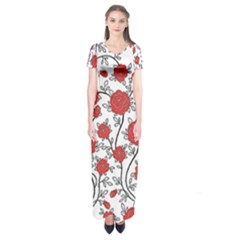 Texture Roses Flowers Short Sleeve Maxi Dress