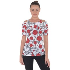 Texture Roses Flowers Short Sleeve Top