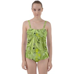 Flowers On A Green Background                      Twist Front Tankini Set