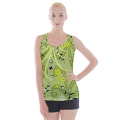 Flowers On A Green Background                           Criss Cross Back Tank Top