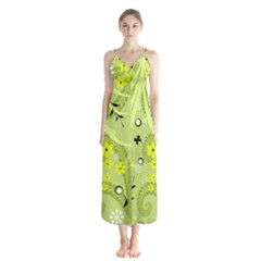 Flowers On A Green Background                            Chiffon Maxi Dress by LalyLauraFLM