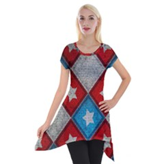 Atar Color Short Sleeve Side Drop Tunic