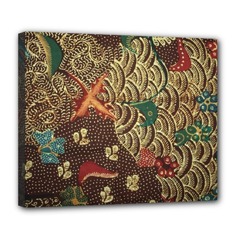 Art Traditional Flower  Batik Pattern Deluxe Canvas 24  X 20