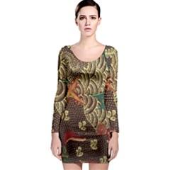 Art Traditional Flower  Batik Pattern Long Sleeve Bodycon Dress