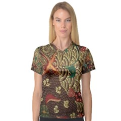 Art Traditional Flower  Batik Pattern V Neck Sport Mesh Tee