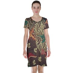 Art Traditional Flower  Batik Pattern Short Sleeve Nightdress