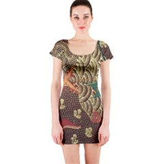 Art Traditional Flower  Batik Pattern Short Sleeve Bodycon Dress