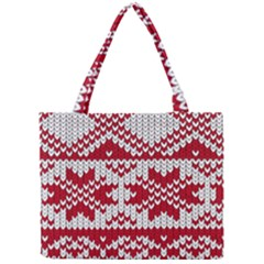 Crimson Knitting Pattern Background Vector Mini Tote Bag
