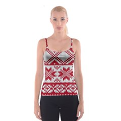 Crimson Knitting Pattern Background Vector Spaghetti Strap Top