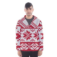 Crimson Knitting Pattern Background Vector Hooded Wind Breaker (men)