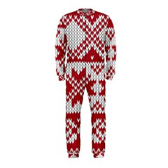 Crimson Knitting Pattern Background Vector Onepiece Jumpsuit (kids)