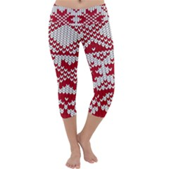 Crimson Knitting Pattern Background Vector Capri Yoga Leggings