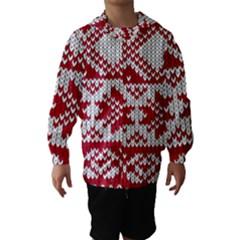 Crimson Knitting Pattern Background Vector Hooded Wind Breaker (kids)