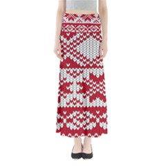 Crimson Knitting Pattern Background Vector Full Length Maxi Skirt