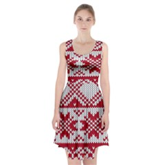 Crimson Knitting Pattern Background Vector Racerback Midi Dress