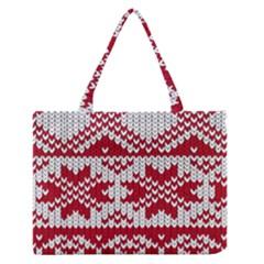Crimson Knitting Pattern Background Vector Medium Zipper Tote Bag