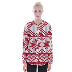 Crimson Knitting Pattern Background Vector Womens Long Sleeve Shirt
