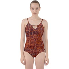 Crocodile Skin Texture Cut Out Top Tankini Set