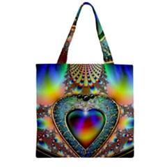 Rainbow Fractal Zipper Grocery Tote Bag
