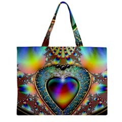 Rainbow Fractal Zipper Mini Tote Bag by BangZart