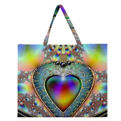 Rainbow Fractal Zipper Large Tote Bag by BangZart