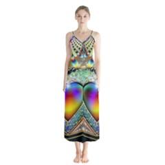 Rainbow Fractal Button Up Chiffon Maxi Dress