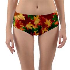 Autumn Leaves Reversible Mid Waist Bikini Bottoms