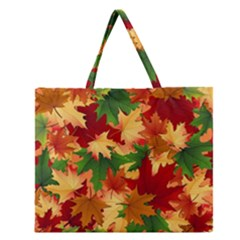 Autumn Leaves Zipper Large Tote Bag