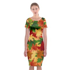 Autumn Leaves Classic Short Sleeve Midi Dress