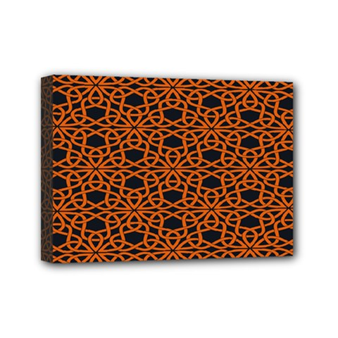 Triangle Knot Orange And Black Fabric Mini Canvas 7  X 5