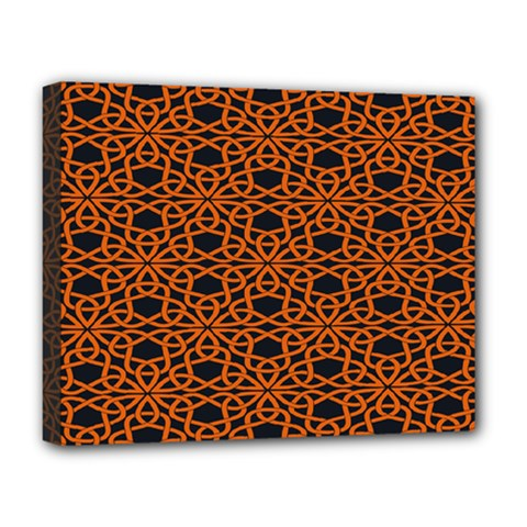 Triangle Knot Orange And Black Fabric Deluxe Canvas 20  X 16
