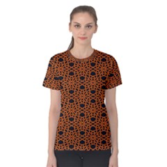 Triangle Knot Orange And Black Fabric Women s Cotton Tee