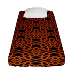 Triangle Knot Orange And Black Fabric Fitted Sheet (single Size)