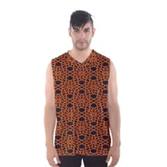 Triangle Knot Orange And Black Fabric Men s Basketball Tank Top