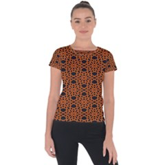 Triangle Knot Orange And Black Fabric Short Sleeve Sports Top