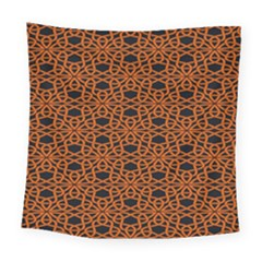 Triangle Knot Orange And Black Fabric Square Tapestry (large)