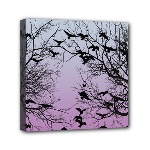 Crow Flock  Mini Canvas 6  X 6  by Valentinaart