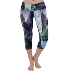 Fantastic World Fantasy Painting Capri Yoga Leggings by BangZart