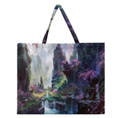 Fantastic World Fantasy Painting Zipper Large Tote Bag