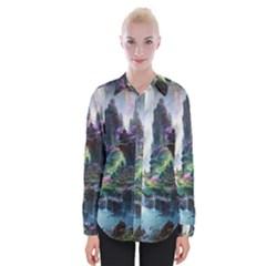Fantastic World Fantasy Painting Womens Long Sleeve Shirt