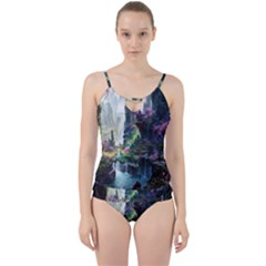 Fantastic World Fantasy Painting Cut Out Top Tankini Set