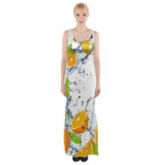 Fruits Water Vegetables Food Maxi Thigh Split Dress