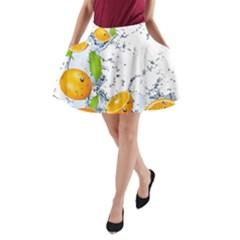 Fruits Water Vegetables Food A Line Pocket Skirt