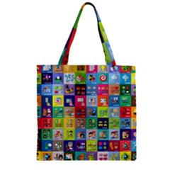 Exquisite Icons Collection Vector Zipper Grocery Tote Bag by BangZart